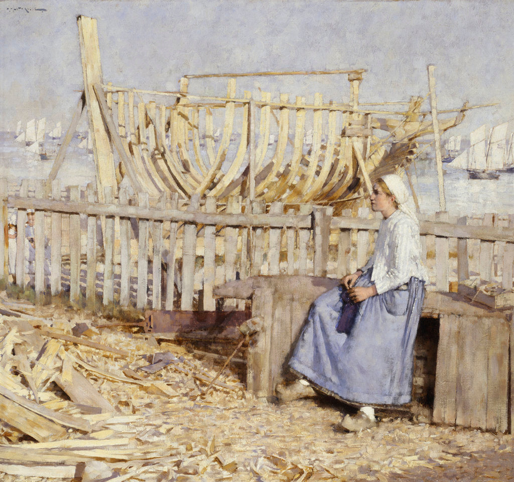Detail of The boat builder's yard, Cancale, Brittany by Henry Herbert La Thangue