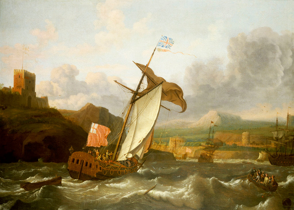 Detail of An English yacht sailing into Plymouth by Ludolf Bakhuizen