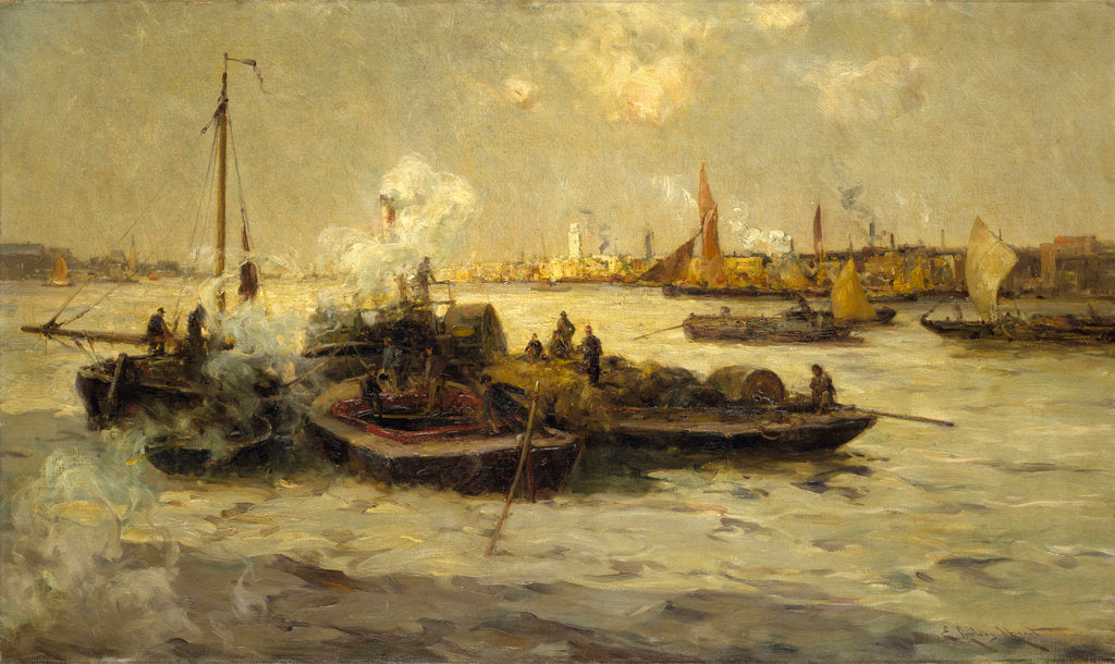 Detail of Limehouse Reach by Edmund Aubrey Hunt