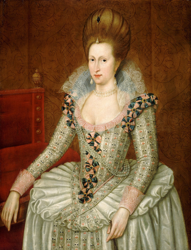 Detail of Anne of Denmark, 1574 by John de Critz