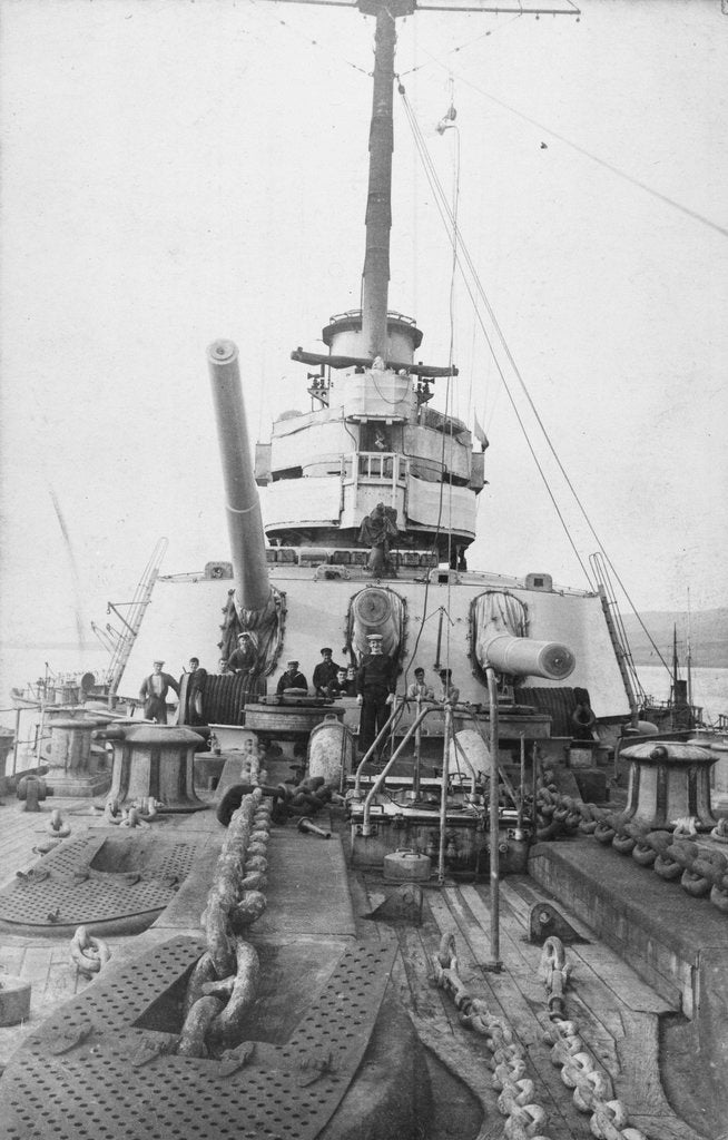 Detail of View aft from the forecastle of the Russian dreadnought battleship 'Volya' (1914), of the Imperatritsa Mariya class by unknown