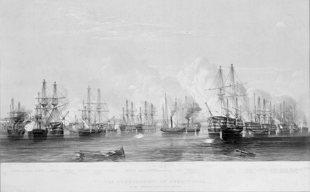 Detail of The Bombardment of Sebastopol by the combined fleets, 17th Oct 1854 by E. Walker
