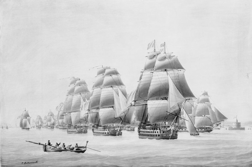 Detail of Earl St Vincent and fleet leaving Lisbon in the 'Ville de Paris', 31 March 1797 by Thomas Buttersworth