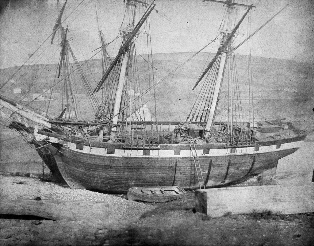 Detail of Broadside view of two unidentified vessels at low tide by unknown