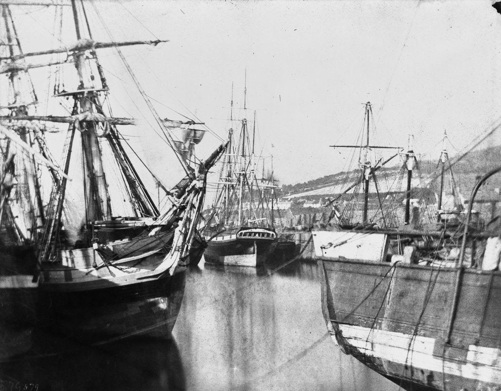 Detail of Bow view of an unidentified ship, stern of another, at low tide, Swansea by unknown