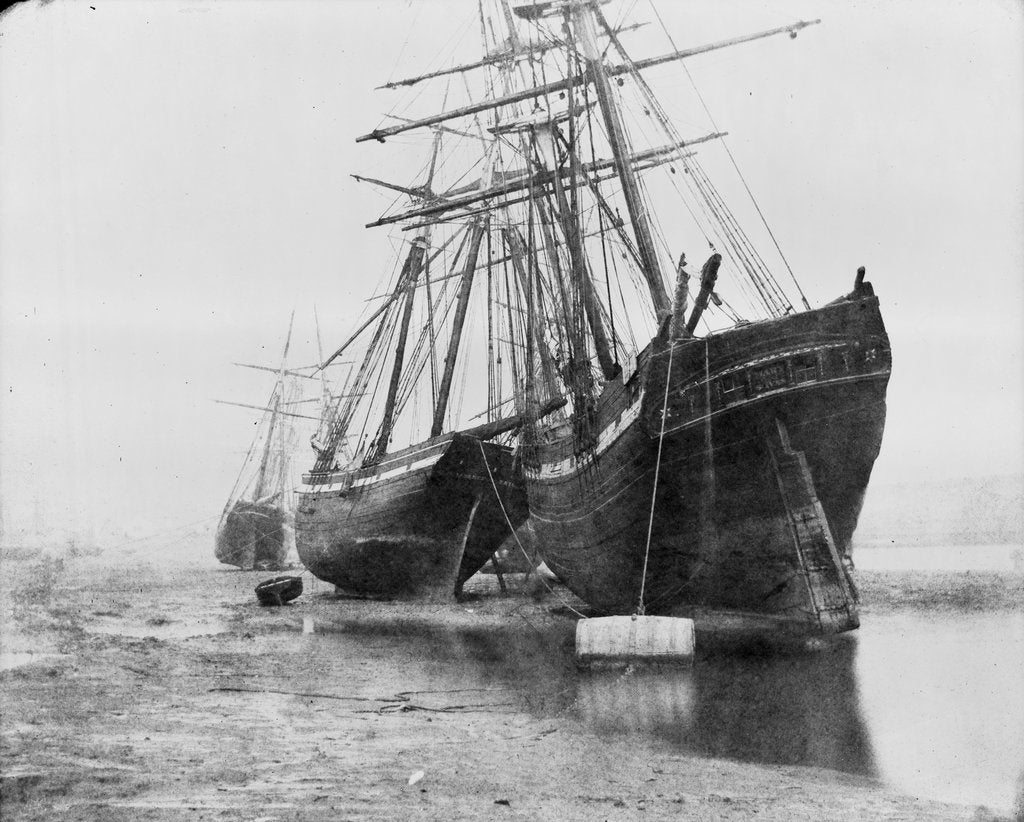 Detail of 'Mary of St Ives' and unidentified vessel at mooring, Swansea by unknown