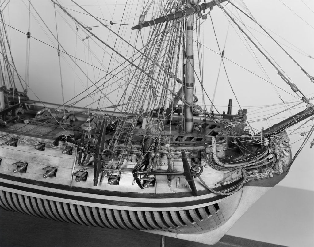 Detail of Rigging detail of a full hull model of the 'Yarmouth' (1745) by unknown