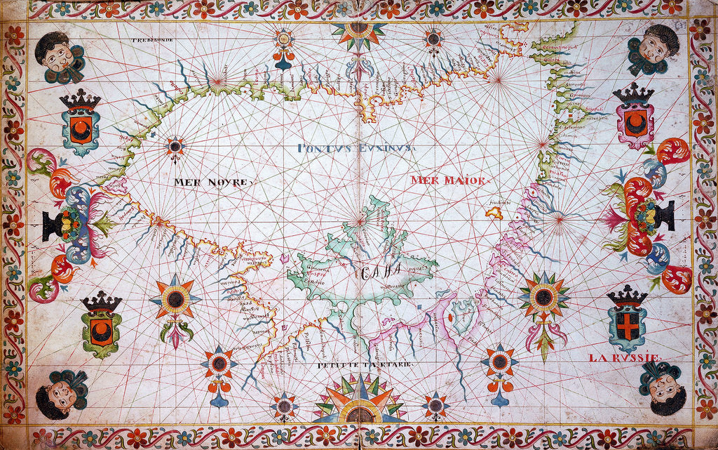 Detail of Chart of the Black Sea, 17th century by Cavolini