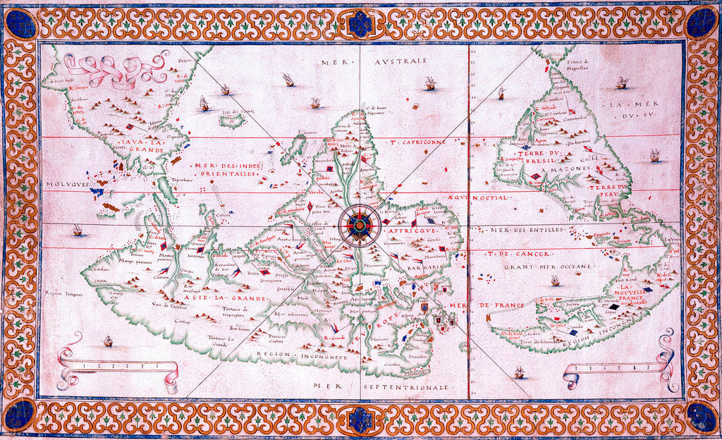 Detail of World chart by Pierre Hamon, 1568 by Pierre Hamon
