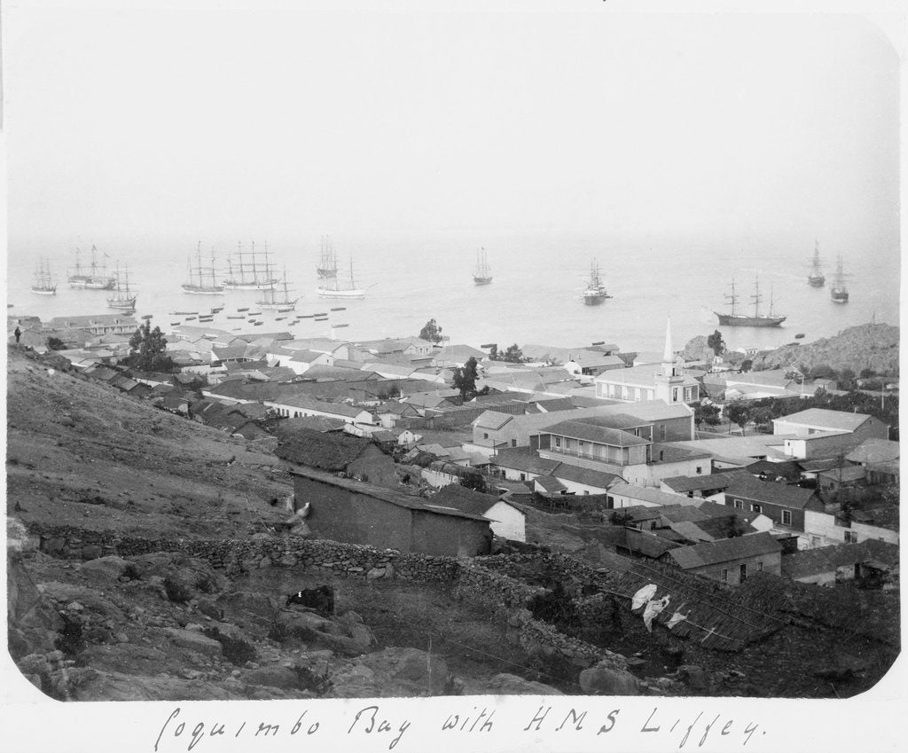 Detail of Coquimbo Bay with HMS 'Liffey' by unknown
