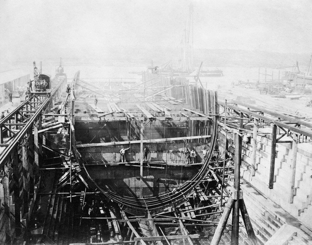 Detail of HMS 'Achilles' (1863) under construction at Chatham Dockyard by unknown