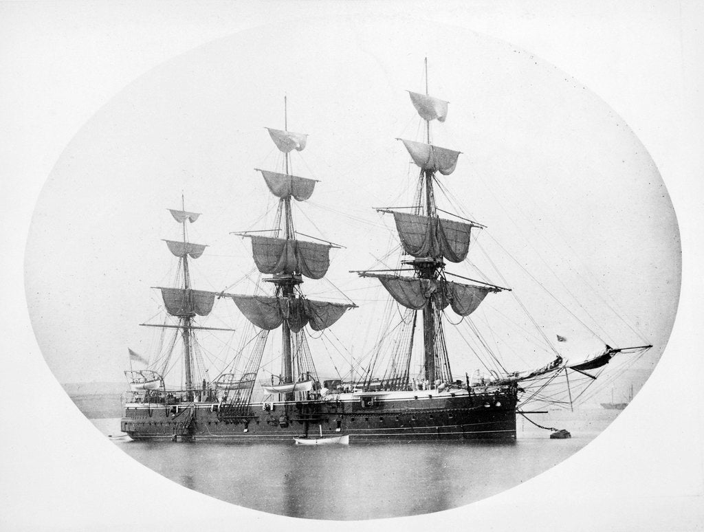 Detail of HMS 'Shannon' (1875) at anchor by unknown