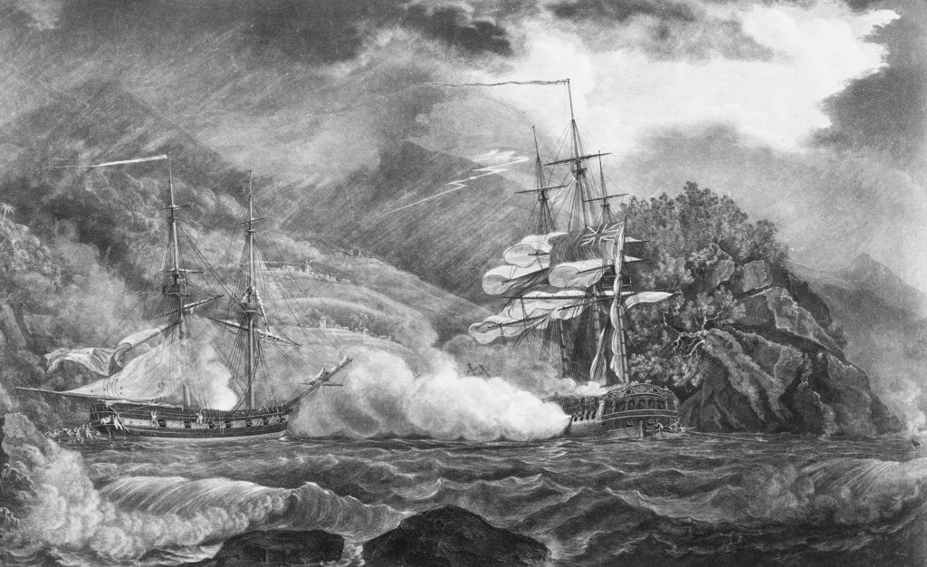 Detail of HMS 'Mermaid' at Granada, 10 October 1795 by Nicholas Pocock