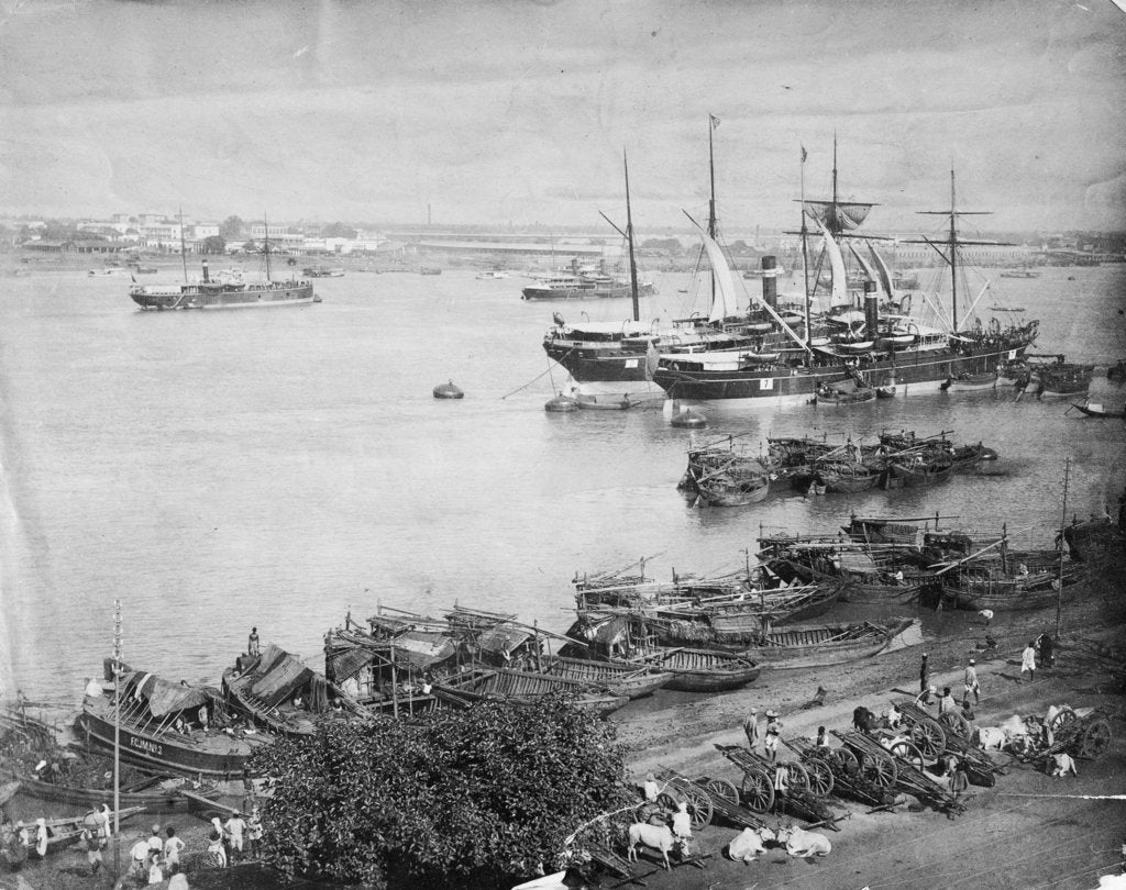 Detail of The port of Calcutta, circa 1870 by unknown