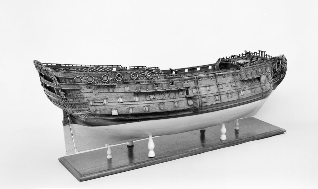 Detail of Full hull model of the 'Britannia' (1719), a 100-gun three-decker, first-rate ship of the line by unknown