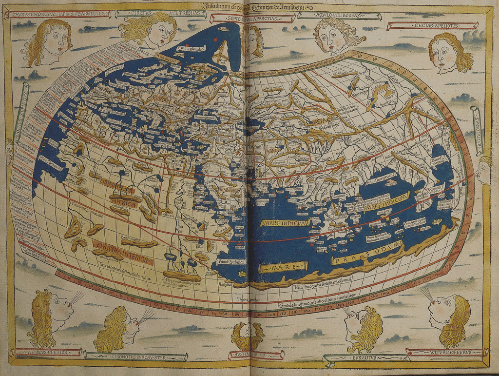 Detail of World map from Ptolemy's Cosmographia of 1492 by Ptolemy