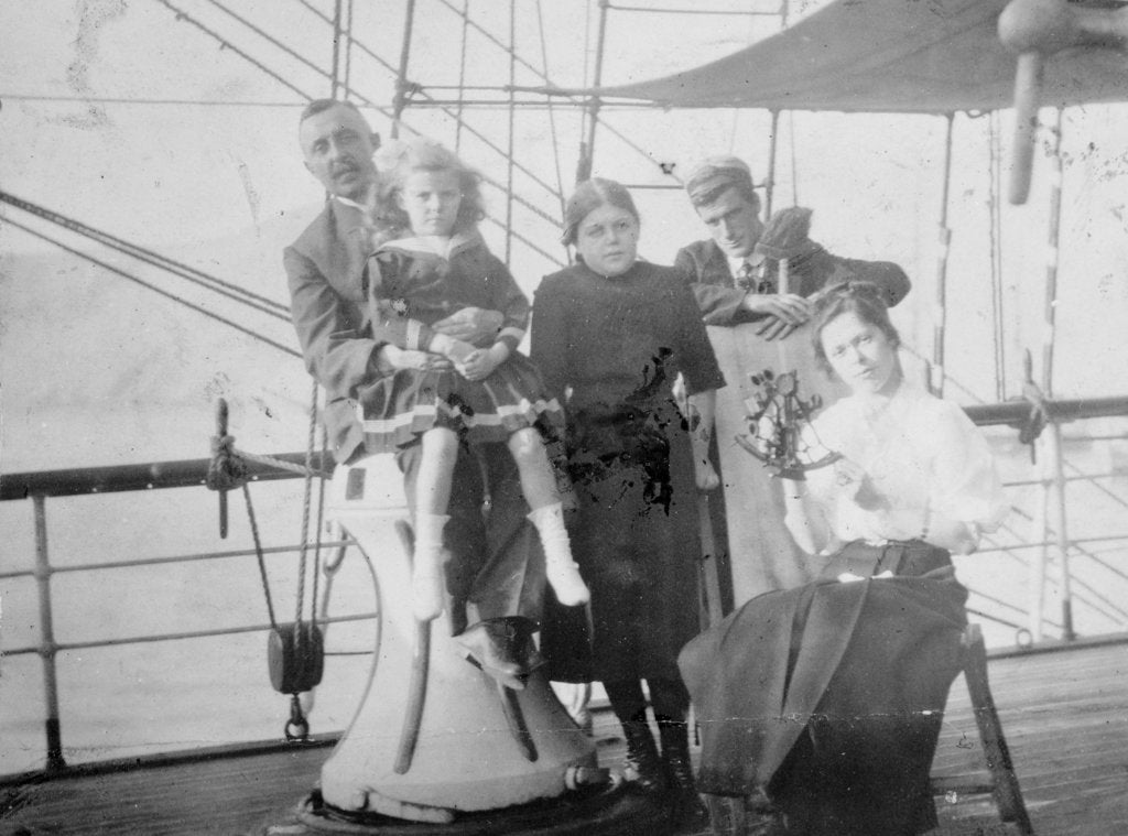 Detail of Group portrait including Mr Hill of the Seamen's Institution on deck, at Iquique, Chile by unknown
