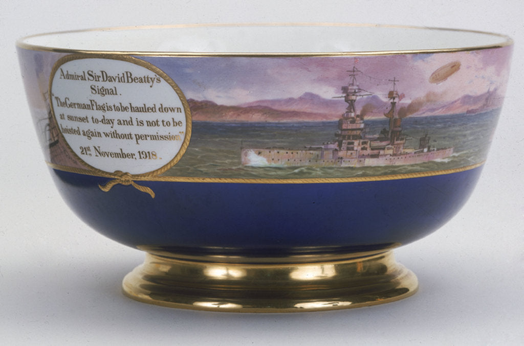 Detail of Minton china bowl, 1918, commemorating the surrender of the German High Seas Fleet by Minton