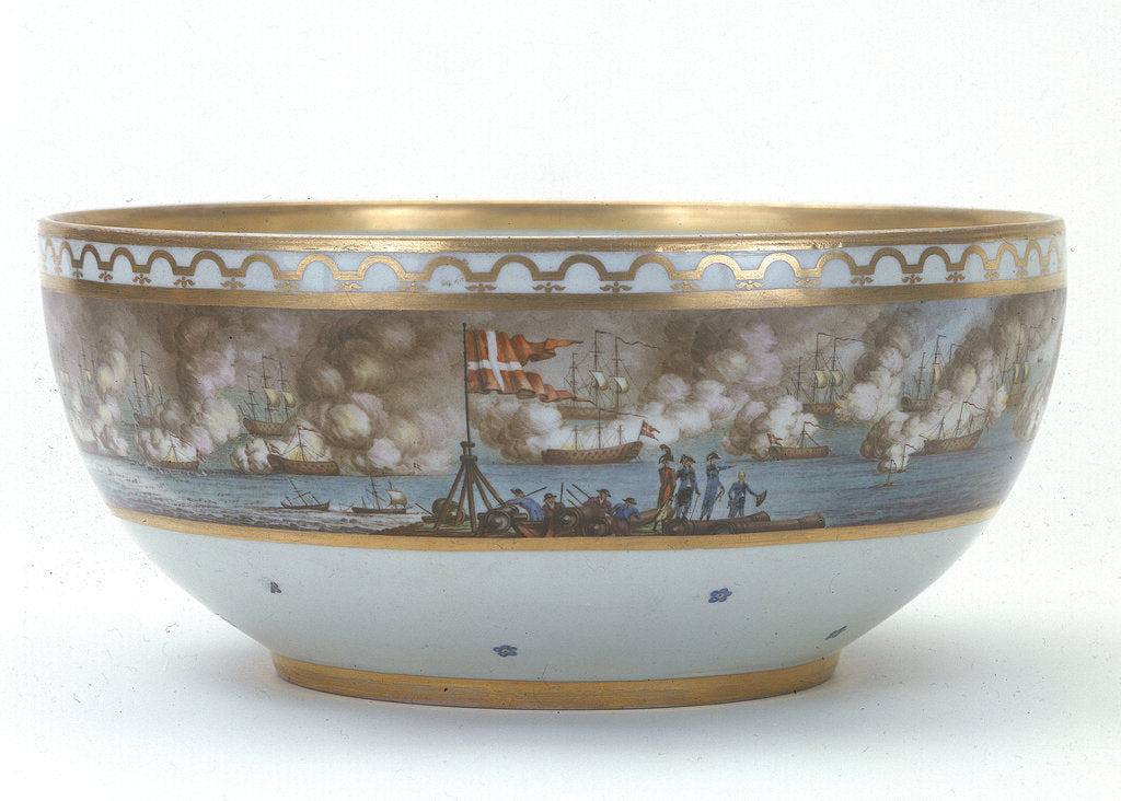 Detail of Porcelain bowl painted with scene of the Battle of Copenhagen, 1801 by Royal Danish Porcelain Manufactory