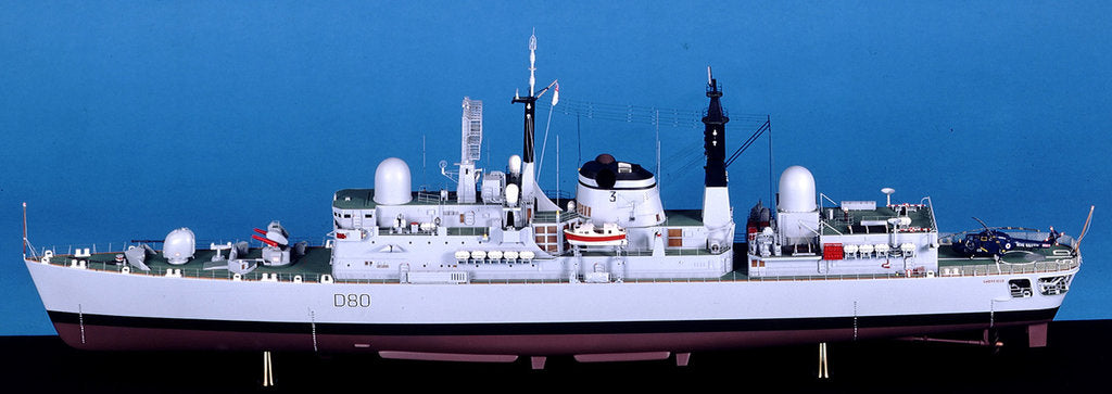 Detail of Type 42 destroyer, HMS Sheffield (1971), port broadside by John R. Haynes