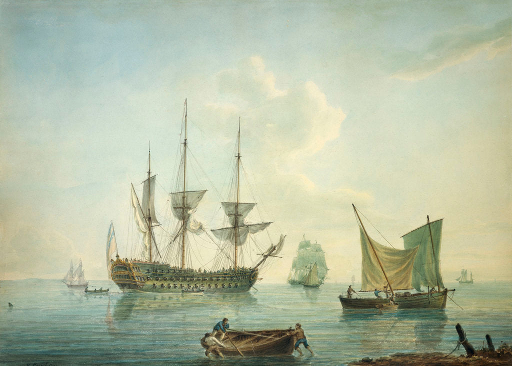 Detail of A third-rate, a frigate, a fishing lugger and other craft off shore in a calm by Nicholas Pocock