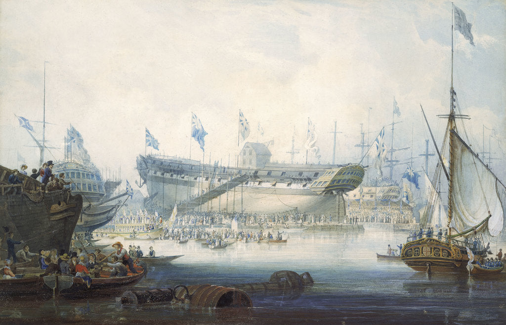 Detail of The launch of the East Indiaman 'Edinburgh' by William John Huggins