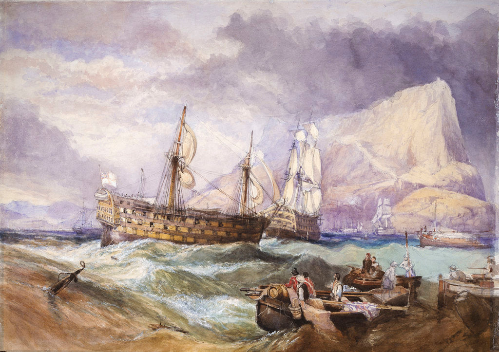 Detail of HMS 'Victory' towed into Gibraltar by Clarkson Stanfield