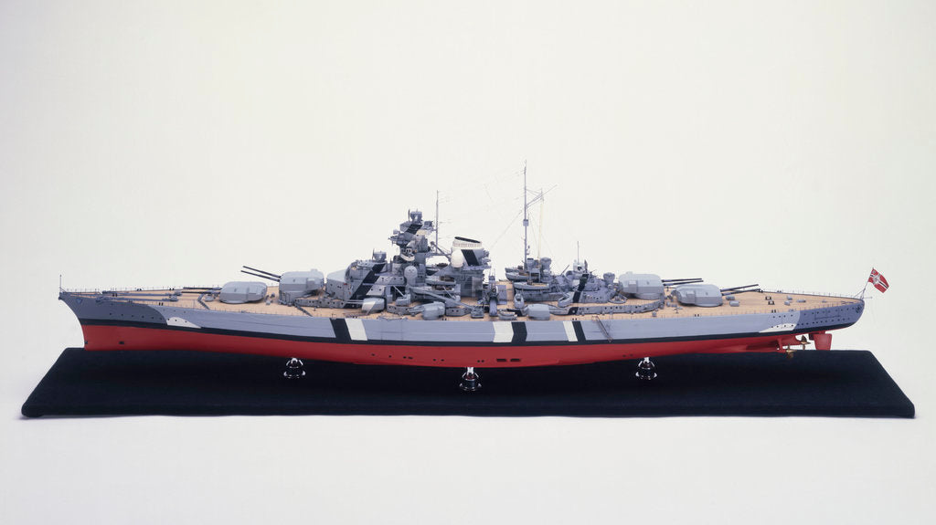 Detail of 'Bismarck', port broadside view by H. G. Sitford