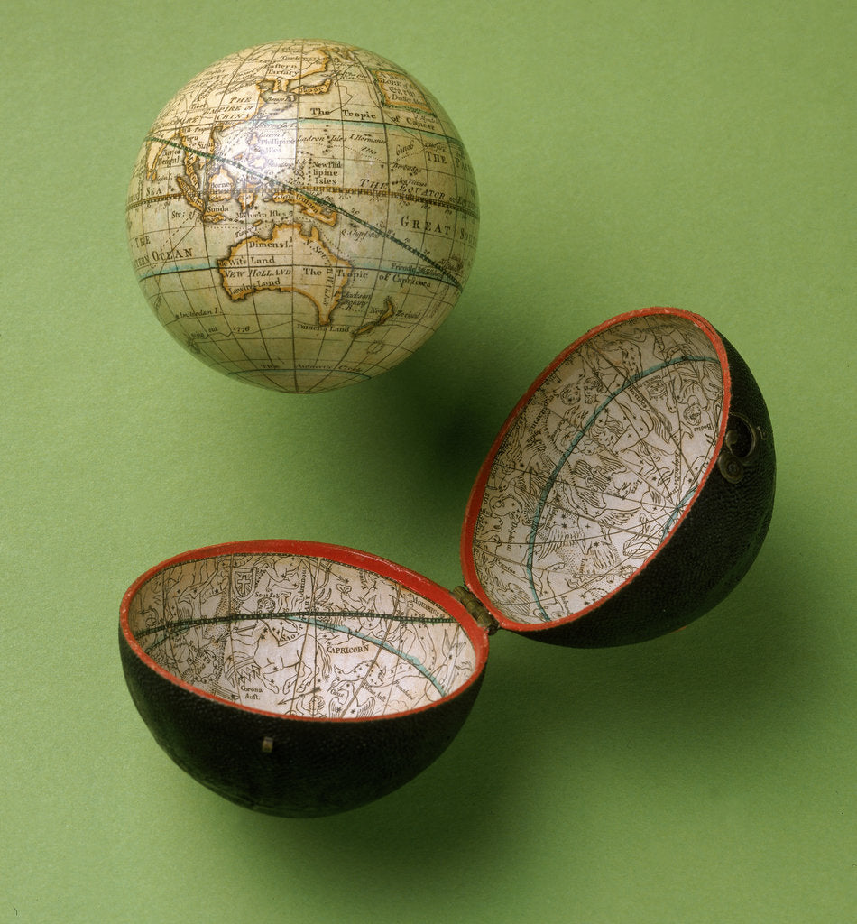 Detail of Terrestrial and celestial pocket globe by Dudley Adams
