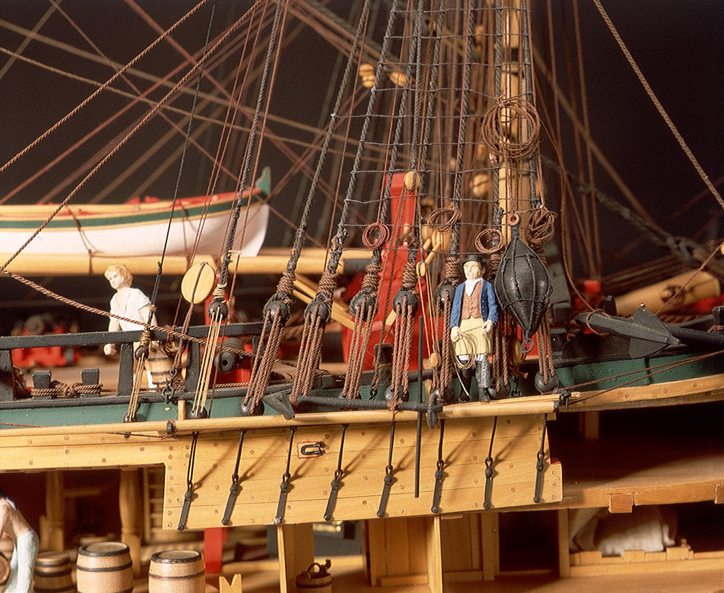 Detail of 'Endeavour', detail, foremast starboard shrouds and anchors by Robert A. Lightley