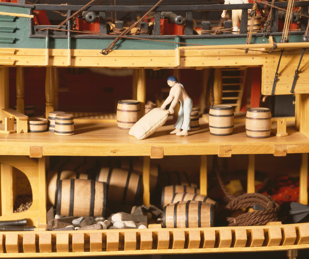 Detail of HM bark 'Endeavour', interior, upper and lower deck and hold by Robert A. Lightley