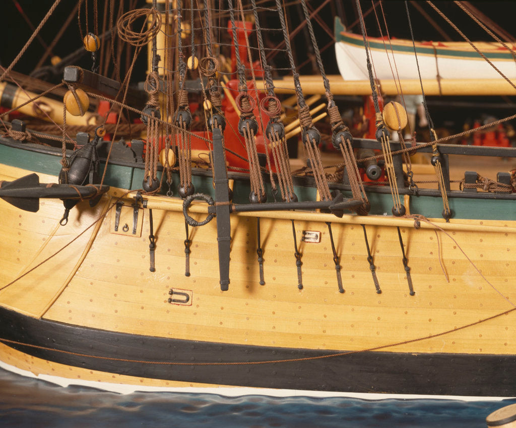 Detail of 'Endeavour', detail, port foremast shrouds and anchors by Robert A. Lightley