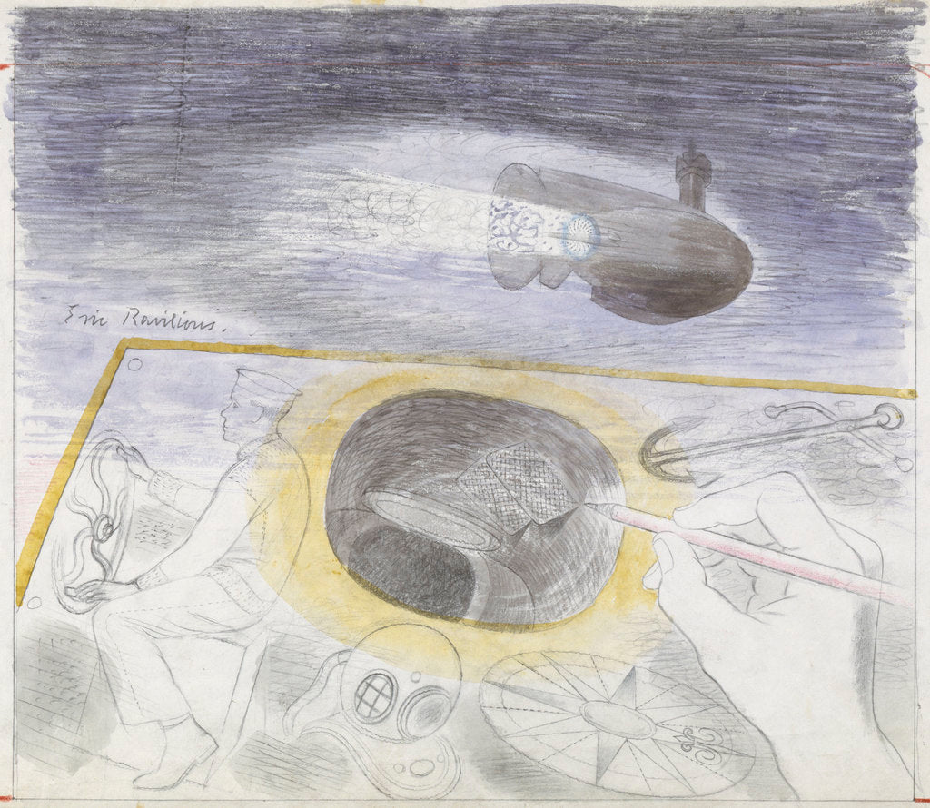 Detail of Submarine Series: submerged submarine, also showing a sailor at the wheel and a diving helmet by Eric Ravilious