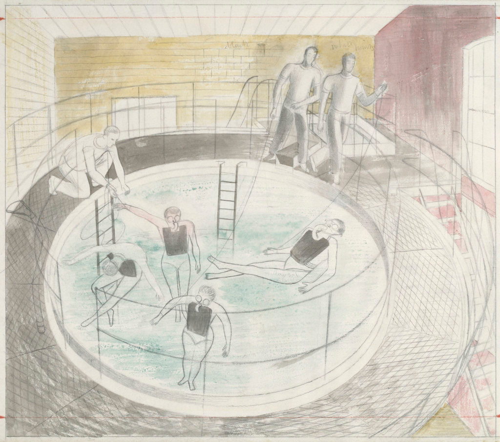 Detail of The Submarine Series: Testing Davis diving apparatus by Eric Ravilious