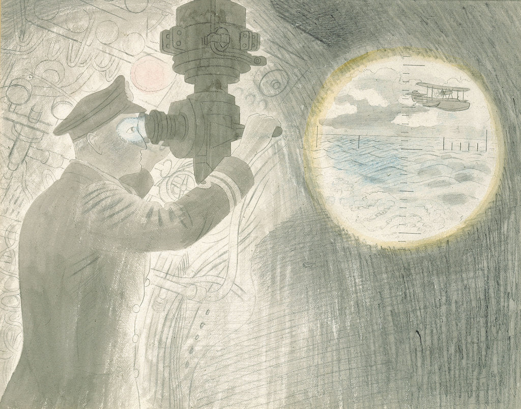 Detail of Submarine Series: Officer viewing through periscope by Eric Ravilious