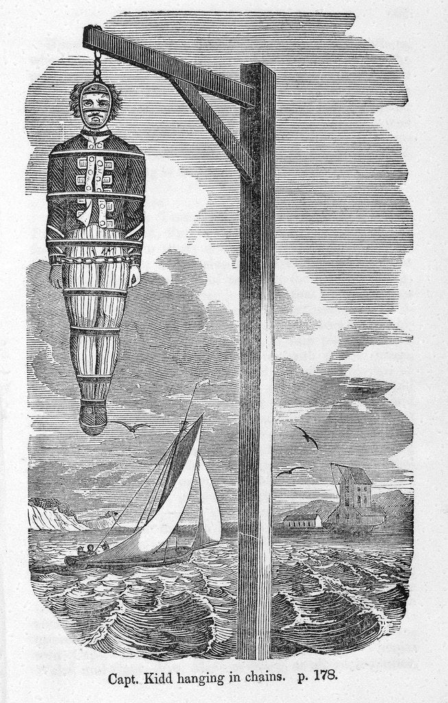 Detail of Captain Kidd's body hanging in an iron cage by unknown
