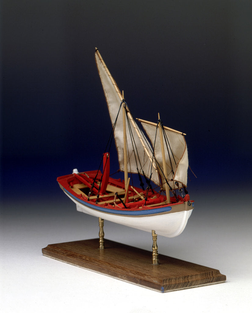 Detail of Full hull model, 6-oared ship's launch, starboard by Robert A. Lightley