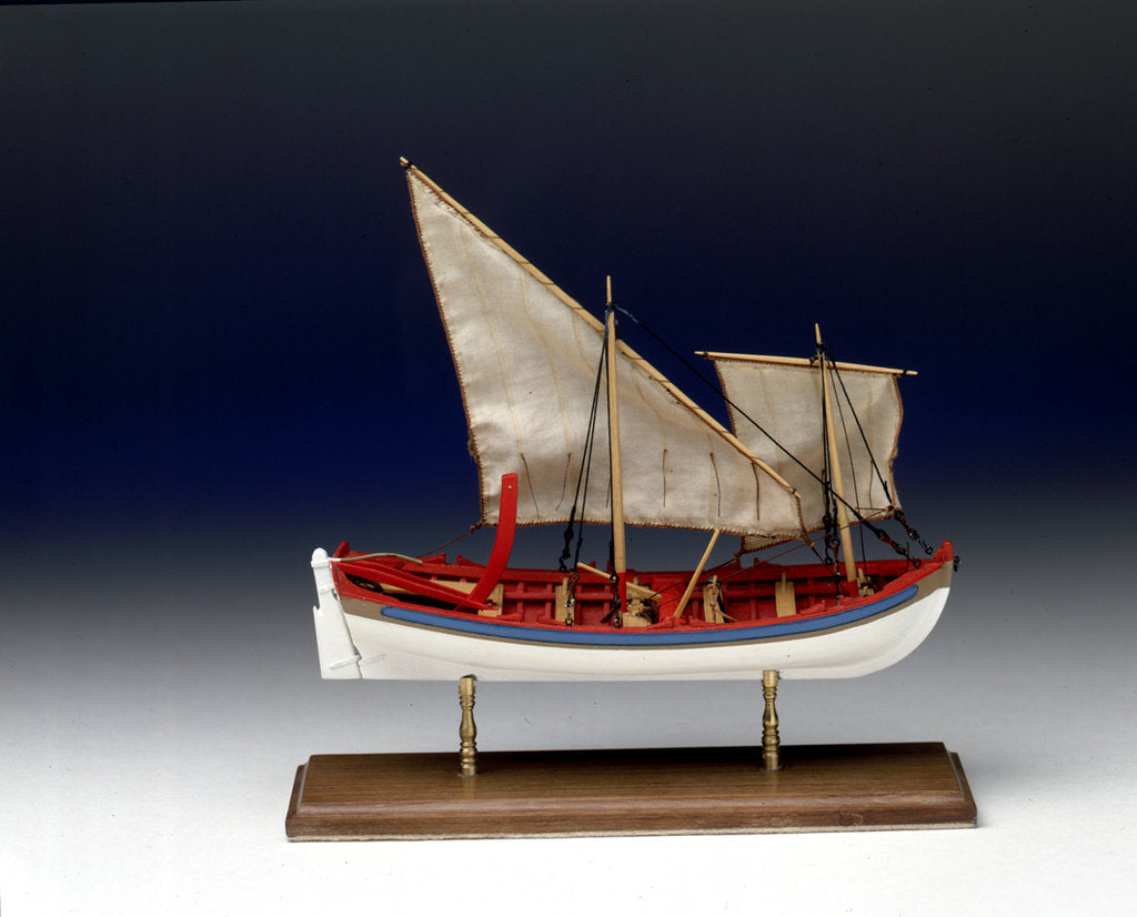 Detail of Full hull model, 6-oared ship's launch, starboard broadside by Robert A. Lightley