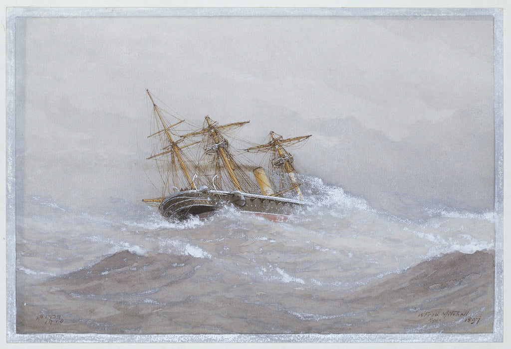 Detail of HMS 'Calliope' in heavy seas by William Frederick Mitchell