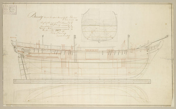 Internal sheer and profile plan of HMS Bounty (1787) (ex-Bethia)