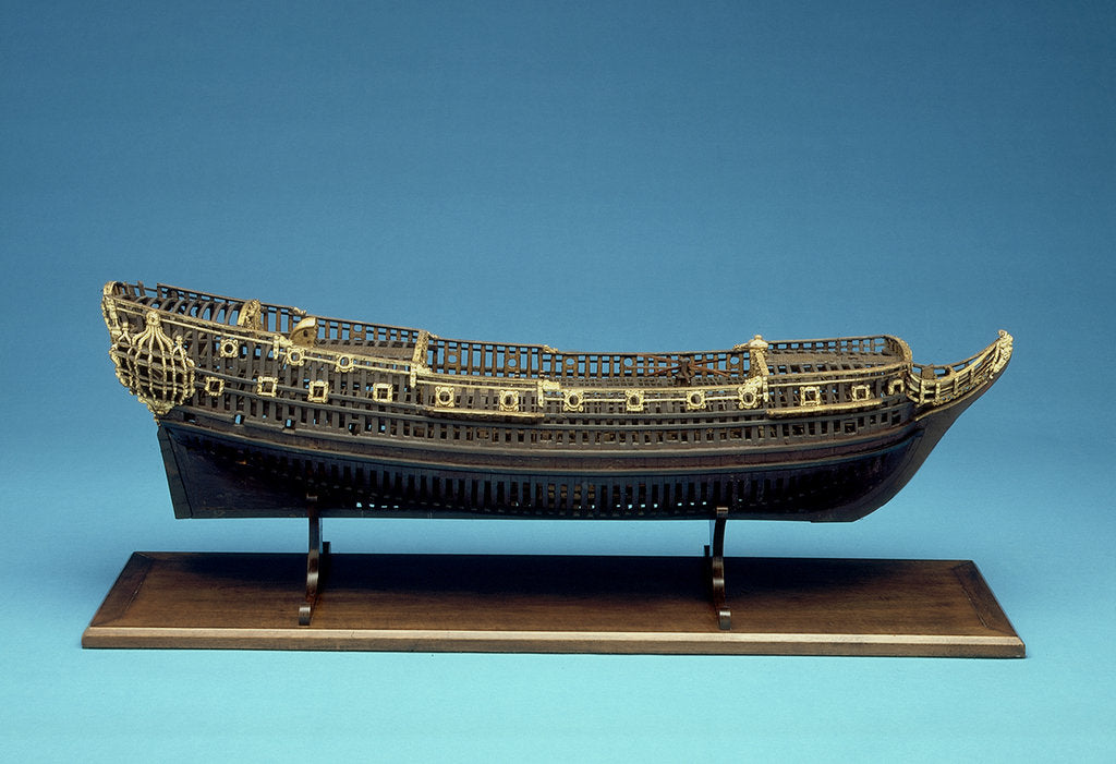 Detail of Navy Board skeleton model, starboard broadside by unknown