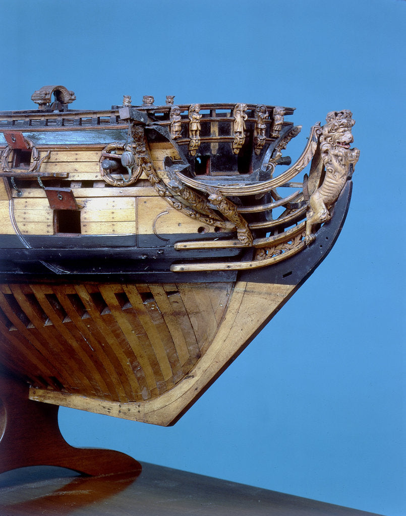 Detail of Navy Board skeleton model, figurehead by unknown