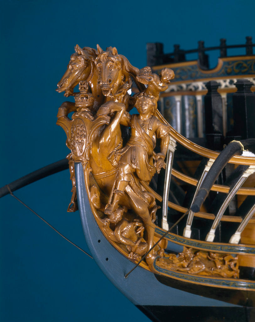 Detail of Full hull model of First Rate 100-gun warship 'Royal George' (1756) by Thomas Burroughs
