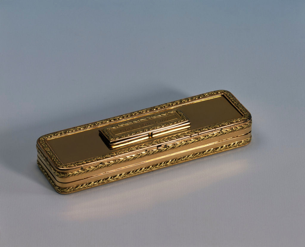 Detail of 18 carat gold toothpick case with a close-fitting hinged lid by John Allen