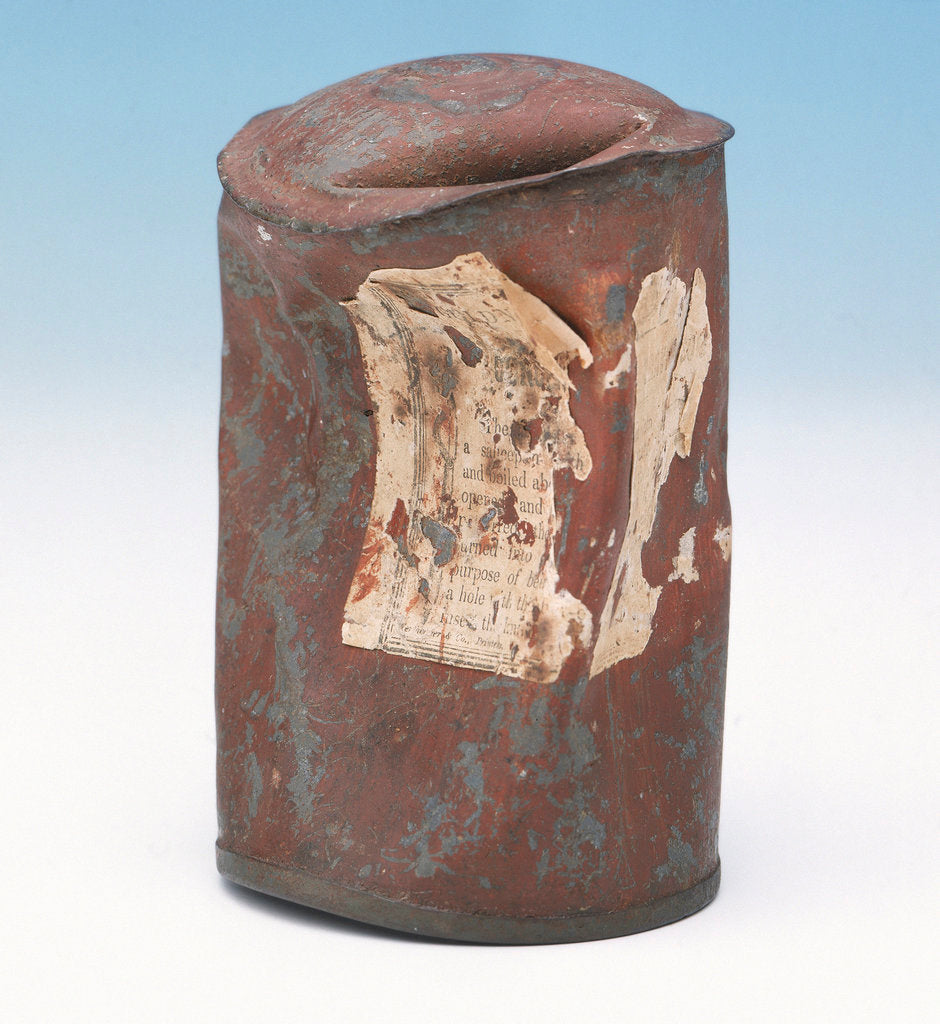 Detail of Soup can from Franklin's last expedition by Goldner