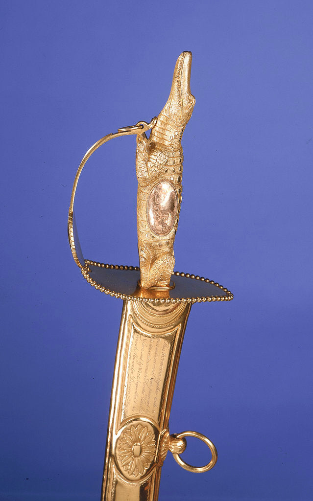 Detail of Presentation sword, which is supposedly a replica of the sword presented to Vice-Admiral Horatio Nelson (1758-1805) by unknown