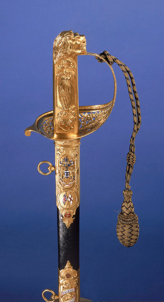 Detail of Presentation sword, which belonged to Admiral of the Fleet Sir John Rushworth Jellicoe (1859-1935) by Goldsmiths & Silversmiths Company Ltd.