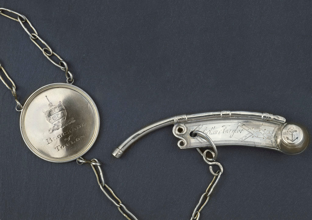 Detail of Silver presentation boatswain's call with a medallion commemorating the Blockade of Toulon. by Henry Croswell