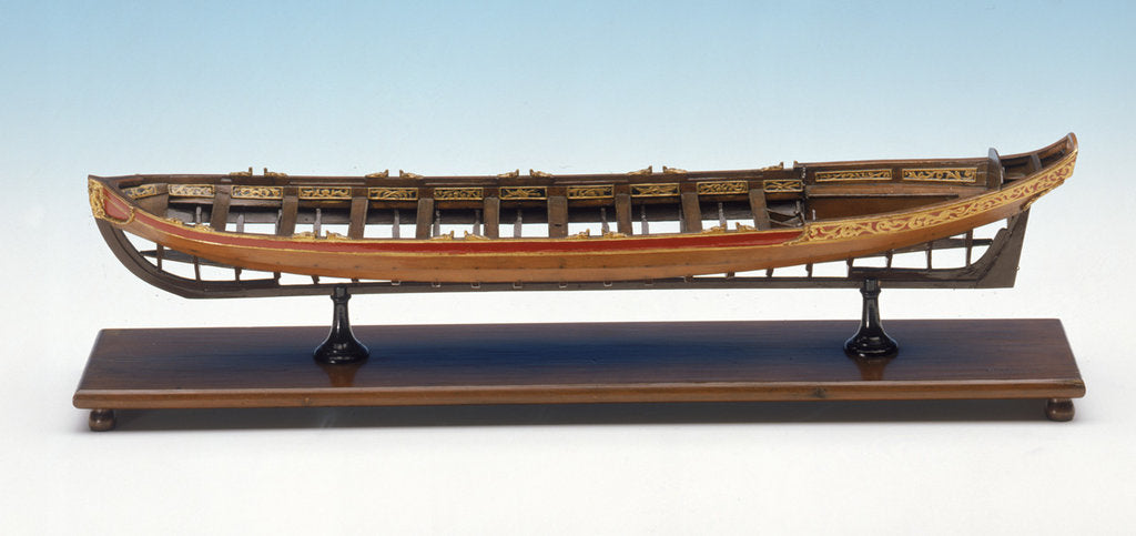 Detail of Full hull model, shallop, port broadside by unknown