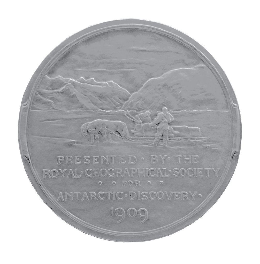 Detail of Royal Geographical Society Medal: Shackleton's Antarctic Expedition 1907-1909 by Gilbert Bayes